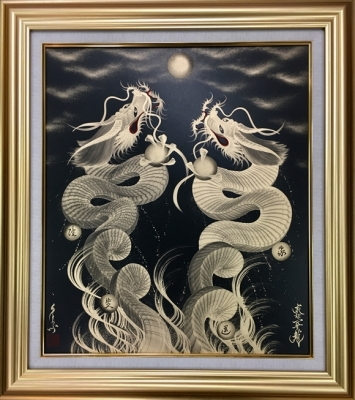 Twin dragons under the moon