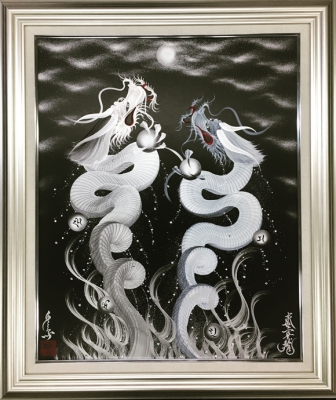 Flying Twin dragons White/Silver